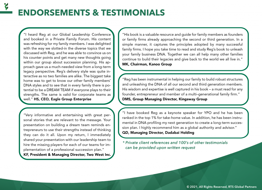 17 - RTS Endorsements & Testimonials